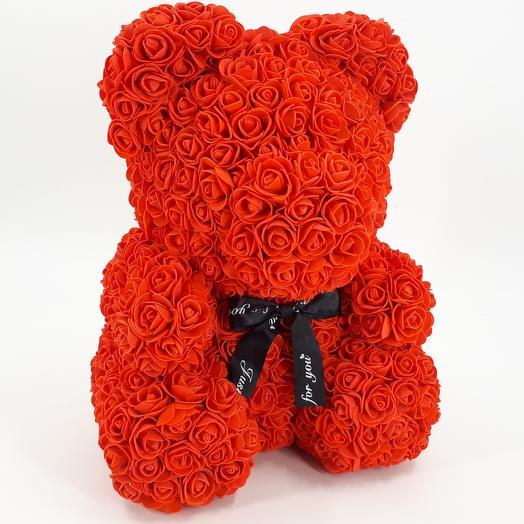 Мишка из роз 40 см красный: букеты цветов на заказ Flowwow