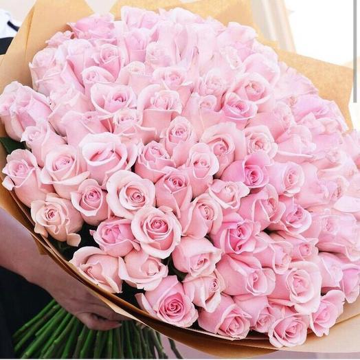 Букет 101 нежно - розовая роза