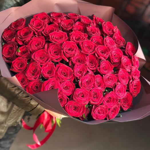 55 красных роз: букеты цветов на заказ Flowwow