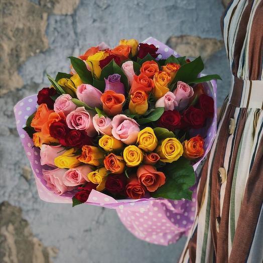 Букет из 55 роз микс 40см: букеты цветов на заказ Flowwow