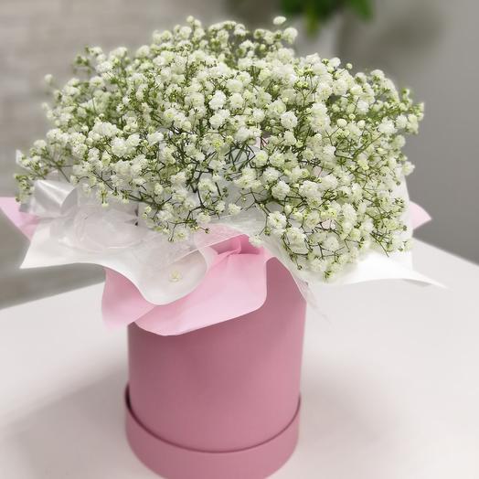 Коробка с Гипсофилой: букеты цветов на заказ Flowwow
