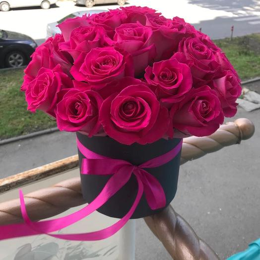 """Букет """"Классика"""" в шляпной коробке, розовый"""