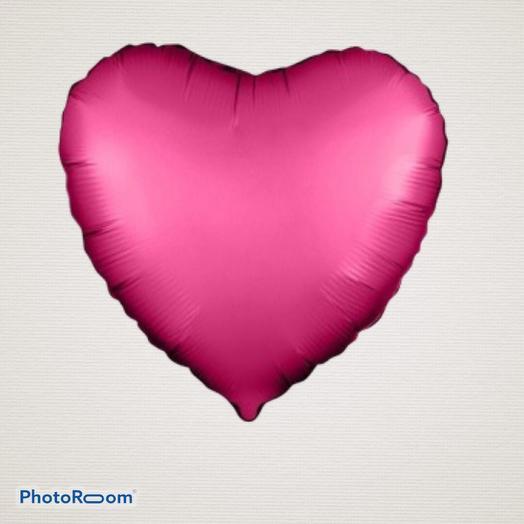 Шар «Сердце», цвет: гранатовый, сатин, фольгированный. Размер 46см