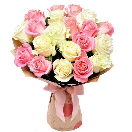 21 Белая и Розовая Роза в Крафте