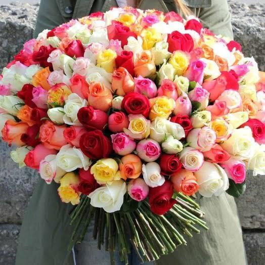 Букет 101 роз микс🌿