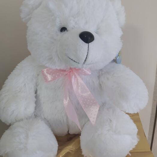 Медведь белый с бантиком 34 см
