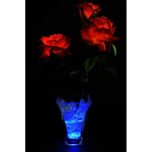 Светодиодные цветы Розы Красные (син) 3 цветка