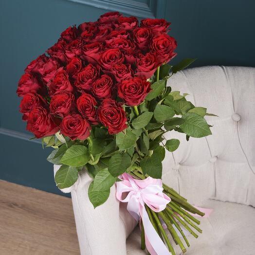Монобукет 25 Красных роз 60см