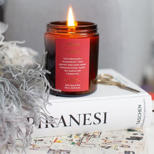 Свеча ароматическая Passion, аромат: Роза, Жасмин, Удовое дерево, Карамель, аромасвечи CANDLE ME