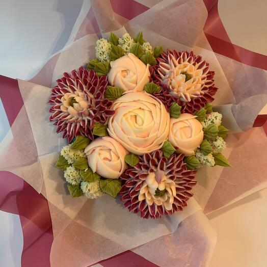 БУКЕТ ЦВЕТОЧНЫХ КАПКЕЙКОВ из Пионов и хризантем и гиацинтов 7 цветов