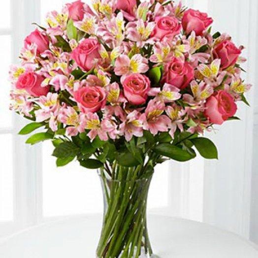 Букет 20 РОЗ + 19 АЛЬСТРОМЕРИЙ: букеты цветов на заказ Flowwow