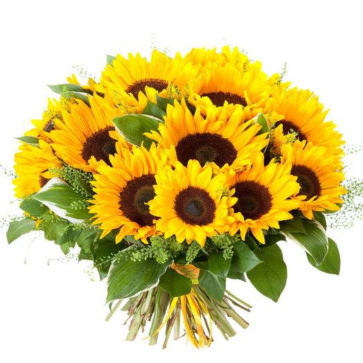 Букет из подсолнухов Сансет бич: букеты цветов на заказ Flowwow