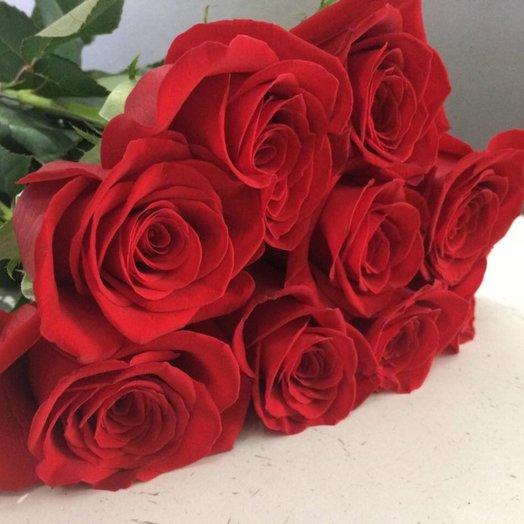 9 красных роз 50-60 см