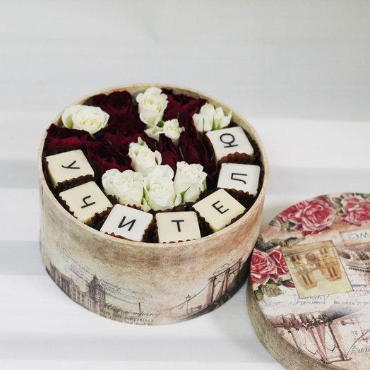 Коробочка с цветами и бельгийским шоколадом Учителю: букеты цветов на заказ Flowwow