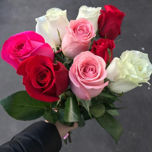 Букет из 9 разноцветных голландских роз 60 см: букеты цветов на заказ Flowwow