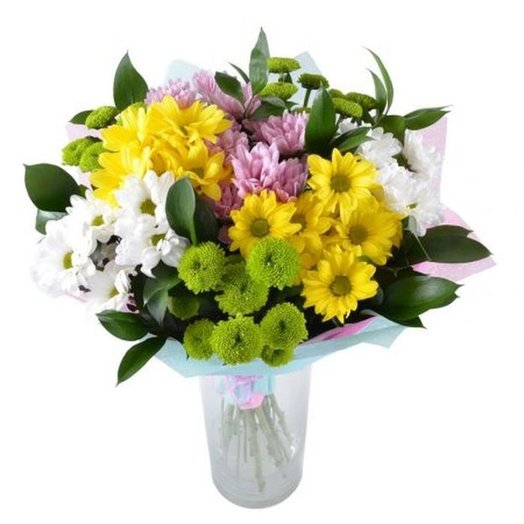 9 spray chrysanthemums mix with greens. Code 180036