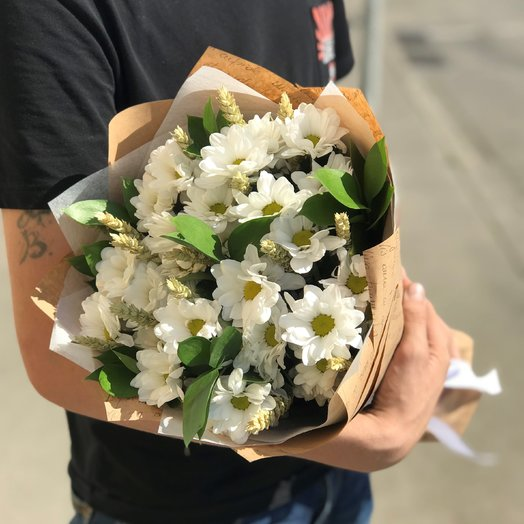 Хризантемы Белая. Колоски Пшеницы. N182: букеты цветов на заказ Flowwow