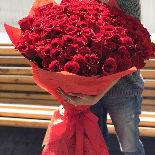 Букет из 101 бордовой метровой Розы