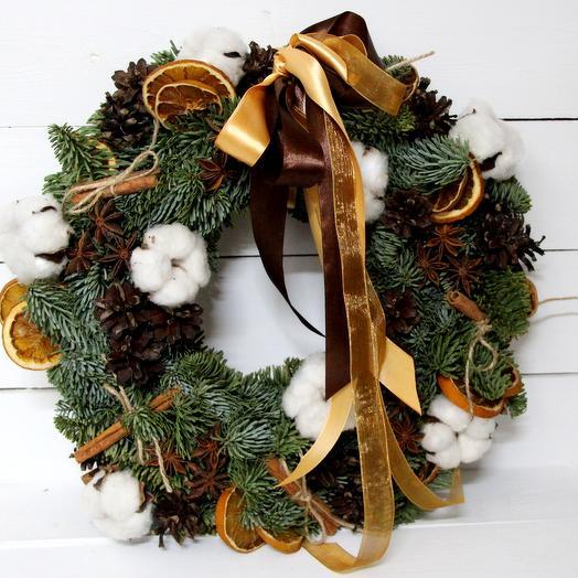 Живой Рождественский Венок: букеты цветов на заказ Flowwow