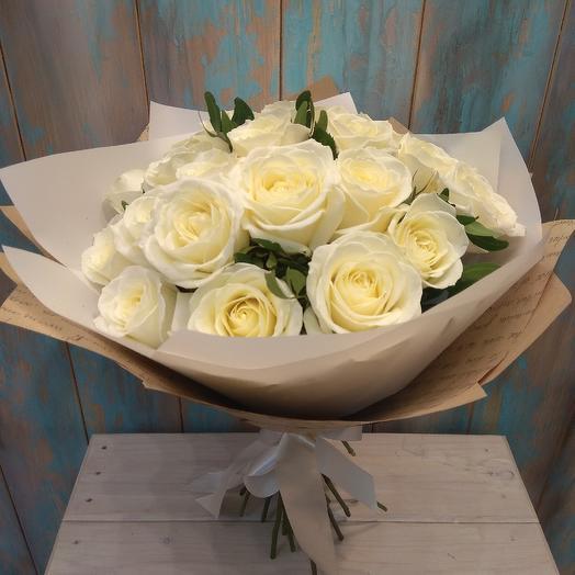 Букет из белой розы 21 шт: букеты цветов на заказ Flowwow