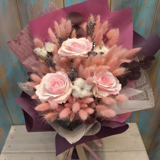 Букет из лагуруса, лаванды, хлопка и розы: букеты цветов на заказ Flowwow