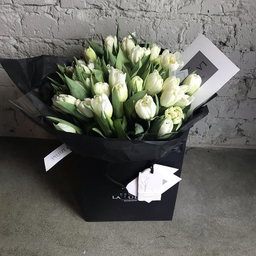 Белые Тюльпаны /  La Tulipe / 49шт: букеты цветов на заказ Flowwow