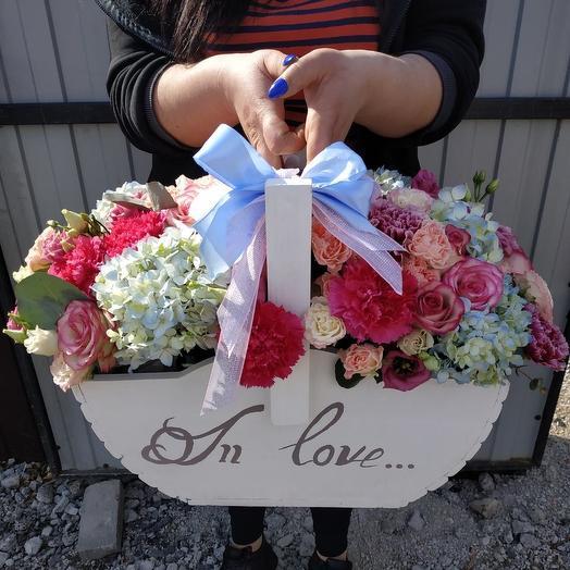 Деревянный бокс: букеты цветов на заказ Flowwow