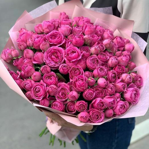"""Букет малиновых пионовидных роз """"Райский уголок"""""""