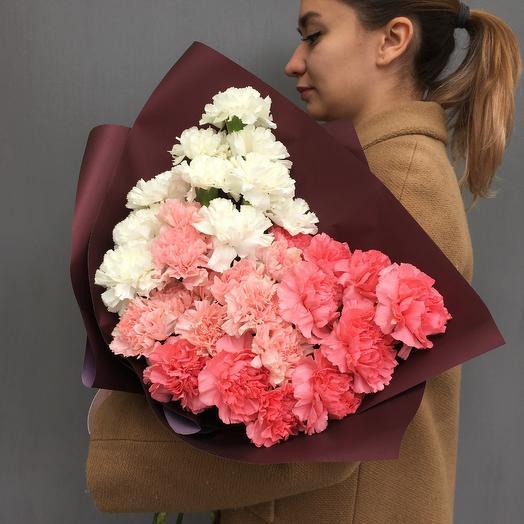 Букет градиент из сортовых гвоздик N28: букеты цветов на заказ Flowwow