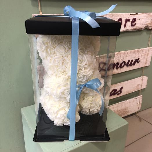 Мишка из роз белый: букеты цветов на заказ Flowwow