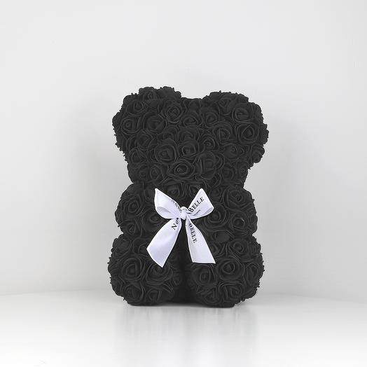 Мишка из роз 25см черный: букеты цветов на заказ Flowwow