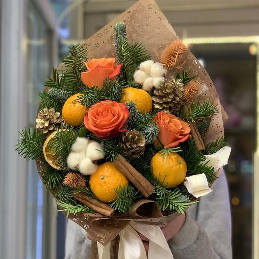 Букет с мандаринами: букеты цветов на заказ Flowwow