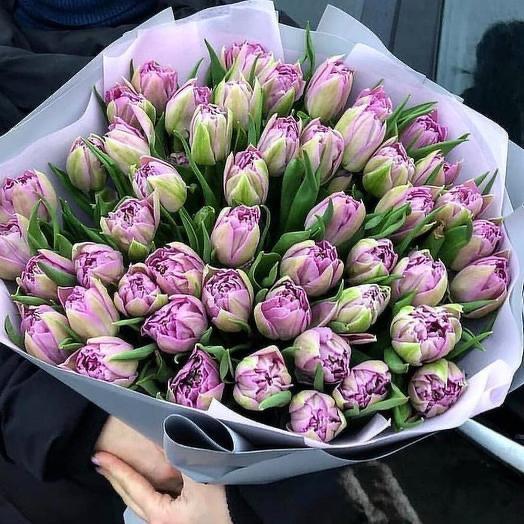Тюльпаны пионовидные сиреневые в дизайнерской упаковке 51 Шт: букеты цветов на заказ Flowwow