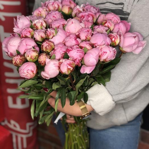 51 розовый пион PREMIUM в букете
