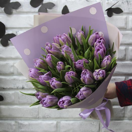 25 сиреневых пионовидных тюльпанов Дабл Прайс