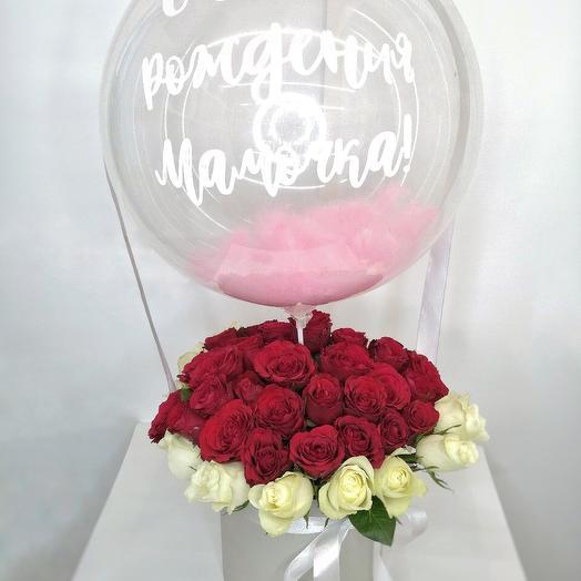 Коробочка с Розами и Шаром для Мамы (День Матери)