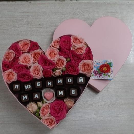 """Цветы в коробке """"любимой маме"""""""