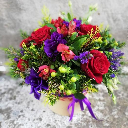 Red and purple flowers in a box