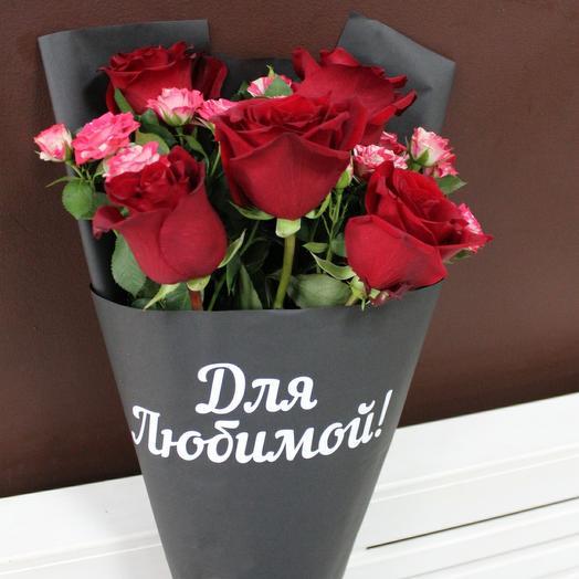 Букет роз с надписью