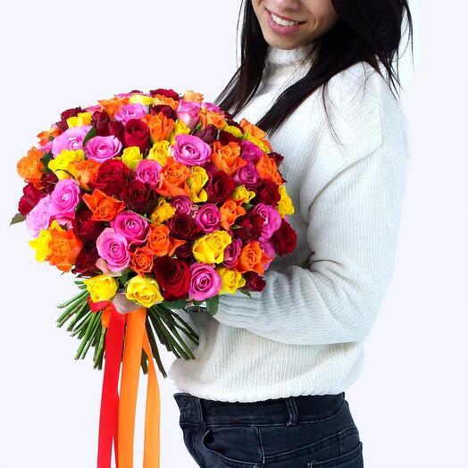 101 роза кения микс + топпер в подарок