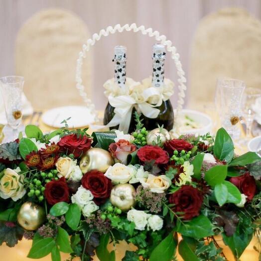 Оформление свадебного стола «Бордо»