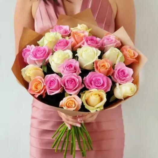Нежный микс роз «Признание» из 25 роз Премиум Эквадор