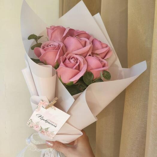 Мини букет роз из мыла