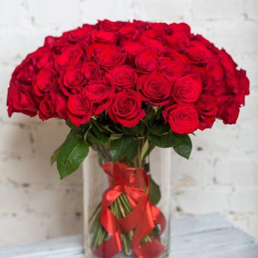 99 красных роз: букеты цветов на заказ Flowwow