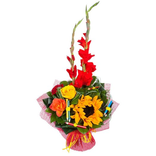Букет с подсолнухом 1 сентября: букеты цветов на заказ Flowwow