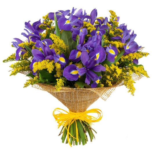 21 ириса с солидаго: букеты цветов на заказ Flowwow