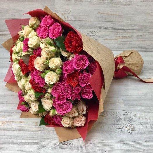 Кустовые розы. Монобукет. N72