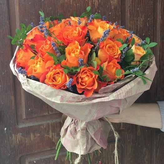 Апельсиново-лавандовый букет: букеты цветов на заказ Flowwow