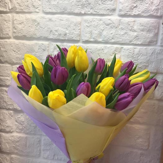 Букет из 25 тюльпанов микс: букеты цветов на заказ Flowwow