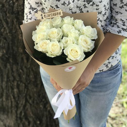15 белых роз на 1 сентября